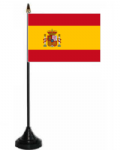 Spain Desk / Table Flag with plastic stand and base.